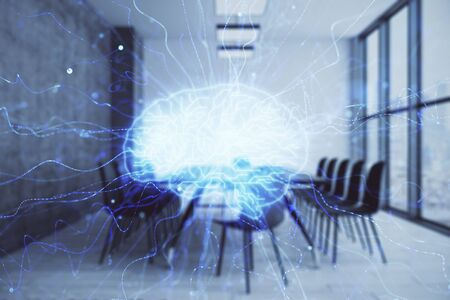 Double exposure of brain drawing hologram on conference room background. Concept of data analysis 写真素材