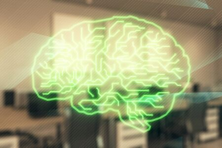 Human brain drawing with office interior on background. Double exposure. Concept of innovation. Stock Photo