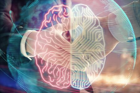 Double exposure of human brain drawing on city view background with handshake. Concept of brainstorm