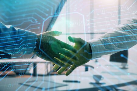 Double exposure of business theme drawing on office background with two businessmen handshake. Concept business
