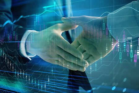 Multi exposure of forex graph on abstract background with two businessmen handshake. Concept of success on stock market Foto de archivo - 131400976