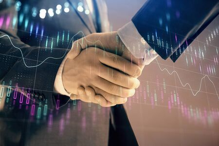 Multi exposure of forex graph on abstract background with two businessmen handshake. Concept of success on stock market Foto de archivo - 131400730