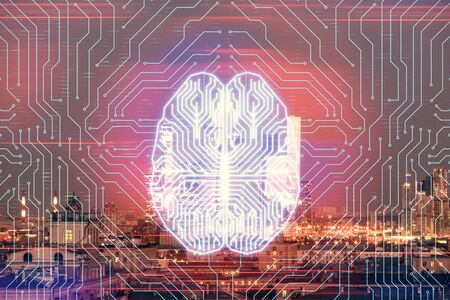 Double exposure of human brain drawing on Moscow cityscape background. Concept of data analysis Reklamní fotografie