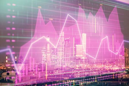 Double exposure of financial chart on Moscow city downtown background. Concept of stock market analysis Stok Fotoğraf