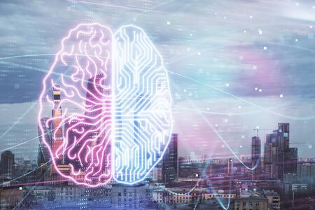 Double exposure of human brain drawing on Moscow cityscape background. Concept of data analysis Фото со стока