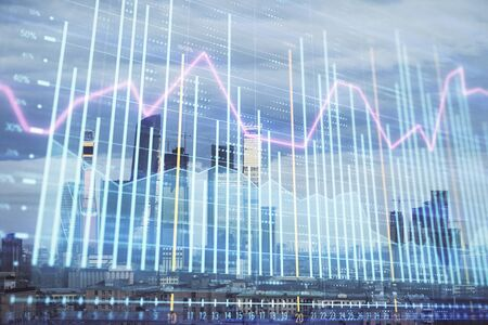 Multi exposure of financial chart on Moscow city downtown background. Concept of stock market analysis
