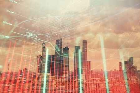 Double exposure of financial graph on downtown veiw background. Concept of stock market research and analysis