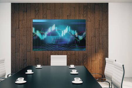 Conference room interior with financial chart on screen monitor on the wall. Stock market analysis concept. 3d rendering. Stockfoto - 131821690