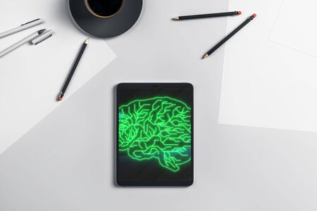 Digital tablet closeup with brain drawing on screen. Data technology concept. 3d rendering.
