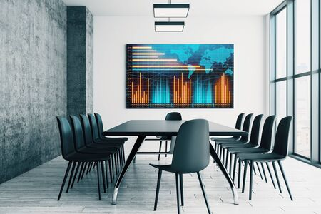 Conference room interior with financial chart and world map on screen monitor on the wall. Stock market analysis concept. 3d rendering.