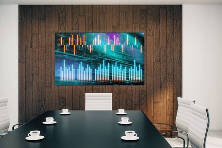 Conference room interior with financial chart on screen monitor on the wall. Stock market analysis concept. 3d rendering.
