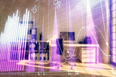 Forex chart hologram with minimalistic cabinet interior background. Double exposure. Stock market concept.