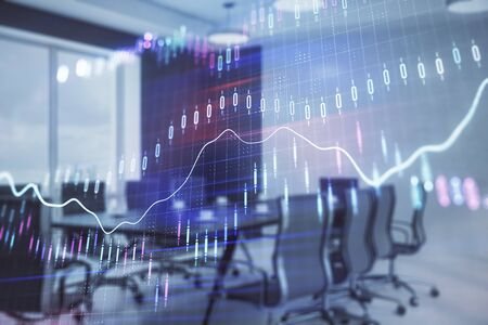 Double exposure of forex chart on conference room background. Concept of stock market analysis Stockfoto - 131826432