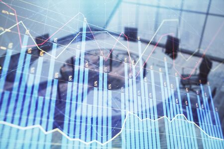 Double exposure of forex chart on conference room background. Concept of stock market analysis Stockfoto - 131836403