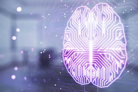Double exposure of brain drawing hologram on conference room background. Concept of data analysis Stockfoto