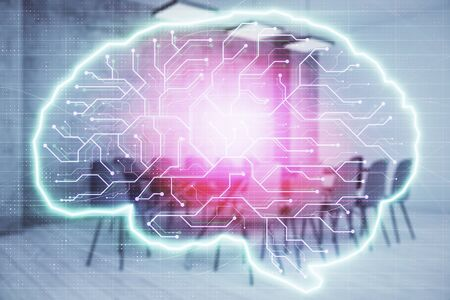 Double exposure of brain drawing hologram on conference room background. Concept of data analysis Stockfoto - 131836037