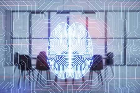 Double exposure of brain drawing hologram on conference room background. Concept of data analysis Stockfoto - 131834924