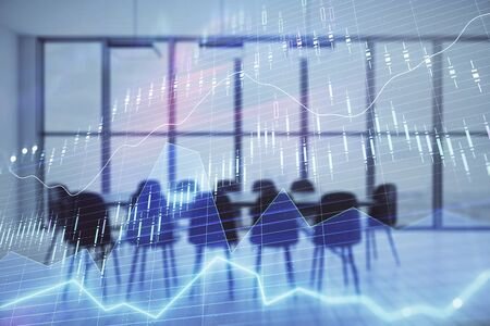 Multi exposure of stock market graph on conference room background. Concept of financial analysis Stockfoto - 131834609