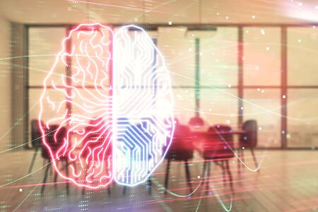 Double exposure of brain drawing hologram on conference room background. Concept of data analysis 스톡 콘텐츠