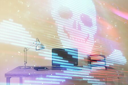 Hacking theme hologram with desktop office background. Double exposure.