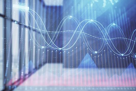 Double exposure of financial chart on empty room interior background. Forex market concept. 스톡 콘텐츠