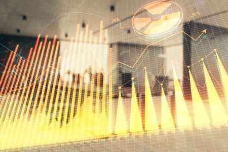 Stock market chart with trading desk bank office interior on background. Double exposure. Concept of financial analysis 스톡 콘텐츠