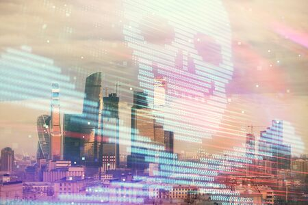 Double exposure of hacking theme drawing hologram on cityscape background. Concept of data cyber piracy