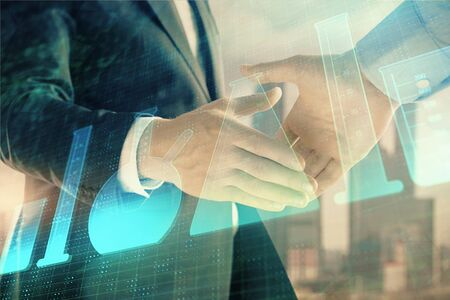 Double exposure of chemistry theme hologram on city view background with handshake. Concept of education