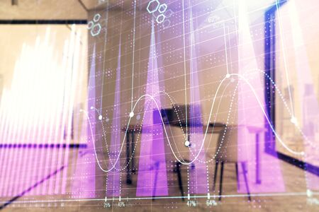 Forex chart hologram with minimalistic cabinet interior background. Double exposure. Stock market concept. Stock fotó