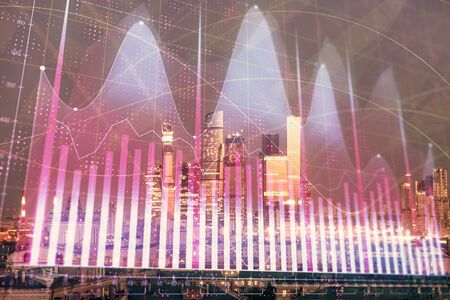 Double exposure of financial chart on Moscow city downtown background. Concept of stock market analysis Stock fotó