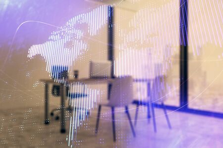 World map and minimalistic cabinet interior background. Double exposure. International business concept. Zdjęcie Seryjne