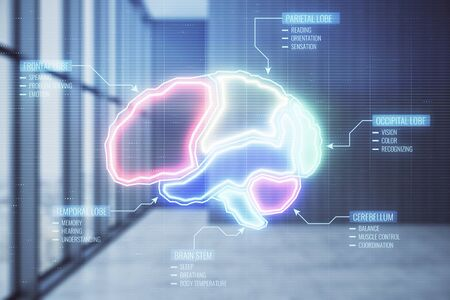 Double exposure of brain icon hologram on empty room interior background. Education concept.