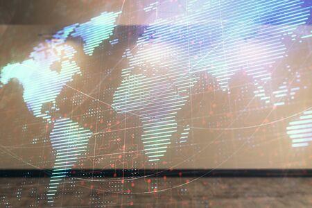 Double exposure of world map on empty room interior background. International network concept. Zdjęcie Seryjne