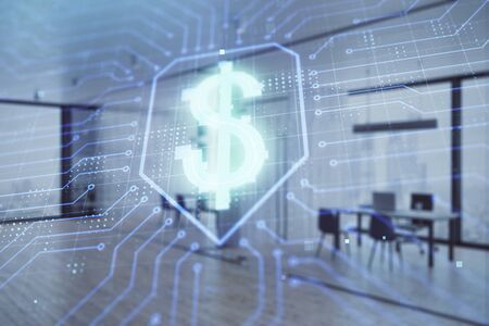 Business theme drawing with office interior background. Double exposure. Concept of success.