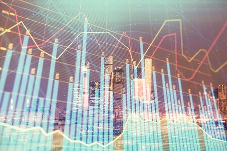 Double exposure of financial chart on Moscow city downtown background. Concept of stock market analysis Zdjęcie Seryjne