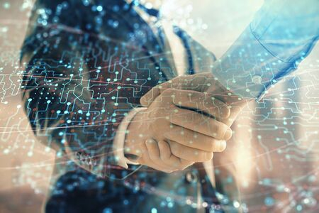 Double exposure of abstract technology drawing on cityscape background with two businessmen handshake. Concept of tech role in business