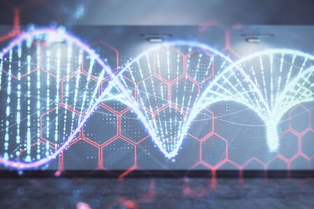 Double exposure of DNA hologram on empty room interior background. Education concept.