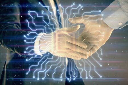 Multi exposure of human brain drawing on abstract background with two men handshake. Concept of data technology in business