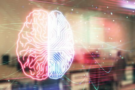 Human brain drawing with office interior on background. Double exposure. Concept of innovation. Stockfoto