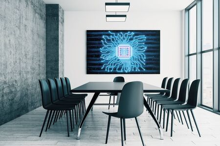 Conference room interior with human brain drawing on screen on the wall. Brainstorm concept. 3d rendering. Standard-Bild - 133328720