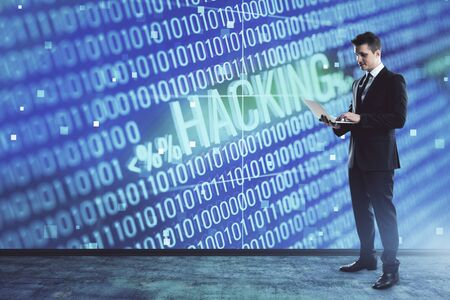 Man and hacking icon hologram. Double exposure. Concept of data safety Stock Photo