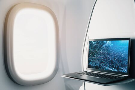 Laptop closeup inside airplane with technology picture on screen. Technology concept. 3d rendering.