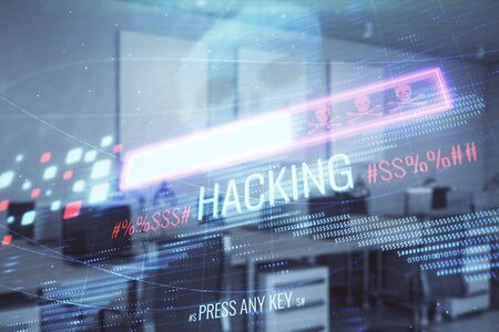 Hacking theme hologram with office interior on background. Double exposure. Concept of cyber piracy Stock Photo