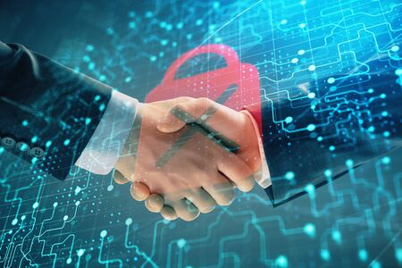 Multi exposure of lock icon drawing on abstract background with two men handshake. Concept of data securitization