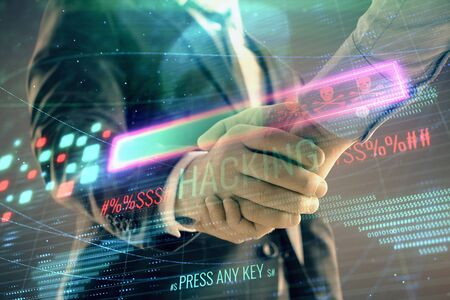 Multi exposure of hacking drawing on abstract background with two men handshake. Concept of data cyberpiracy