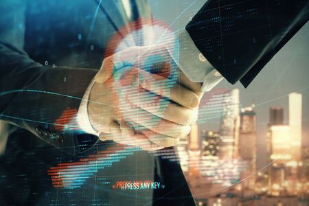 Multi exposure of digital crime theme hologram on city view background with two people handshake. Concept of securitization