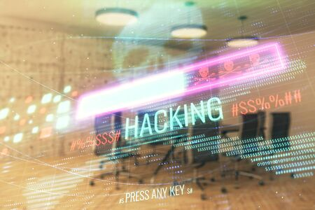 Double exposure of hacking theme hologram on conference room background. Concept of cyberpiracy