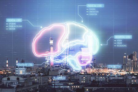 Doble exposición de dibujo cerebral sobre fondo de paisaje urbano. Concepto de educación