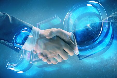 Multi exposure of seo icon drawing on abstract background with two men handshake. Concept of information search