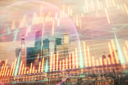 Double exposure of financial graph and world map on city view background. Concept of financial market research and analysis Stock Photo